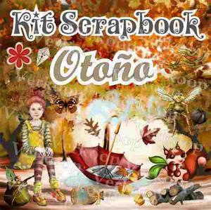 Kit Scrapbook Digital Otoño Fondos Elementos Marcos Png
