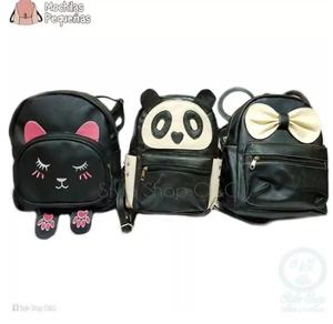 Mochila Bolso Gato, Minnie, Oso Panda Cuero Pu