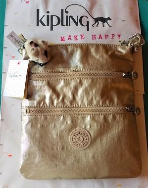 Kipling Crossbody Morral Golden Metallic Bolsa De La Marca