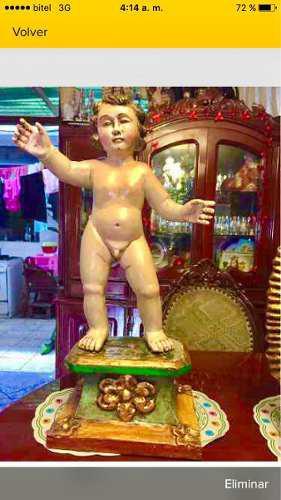 Escultura Antigua En Madera Niño Jesus Parado 70cnt