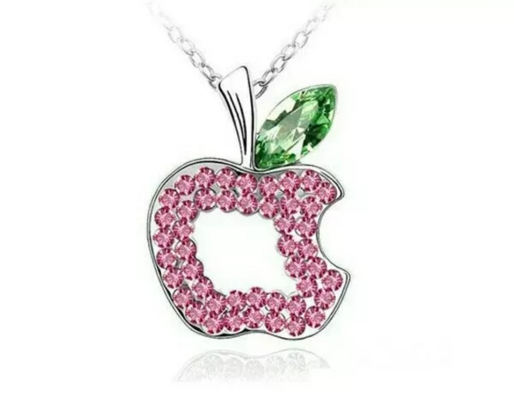 Collar De Manzana Para Mujer Plata 18k Con Brillos Swarovski