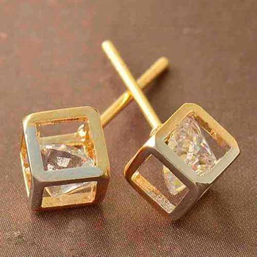 Aretes Oro Laminado 18k Con Cristales Swarovski X112
