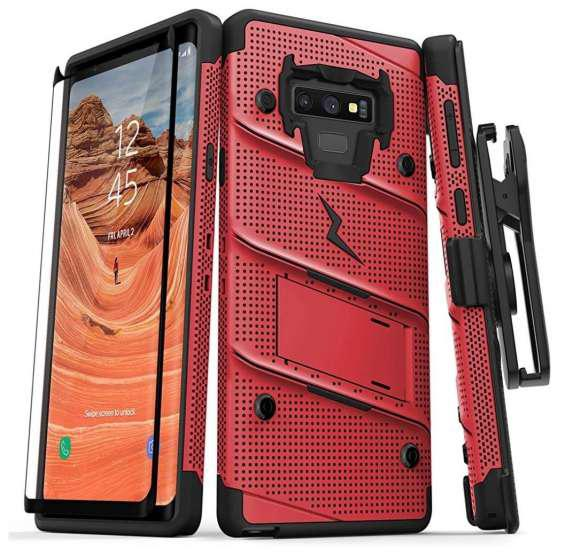 Case galaxy note 9 c/ vidrio templado funda usa rojo en