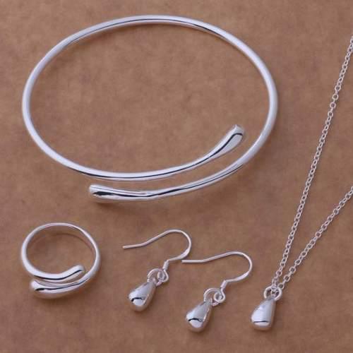 Collar, Aretes, Anillo Y Pulsera De Plata, Gotas Pequeñas
