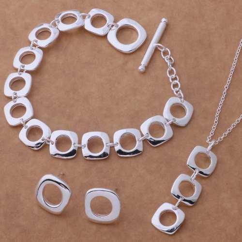 Collar, Aretes Y Pulsera De Plata Cuadrados, Joyas De Plata