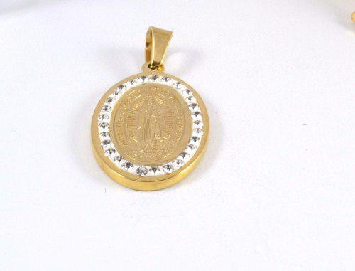 Medalla Virgen De Guadalupe Con Piedras Enchapado En Oro 18