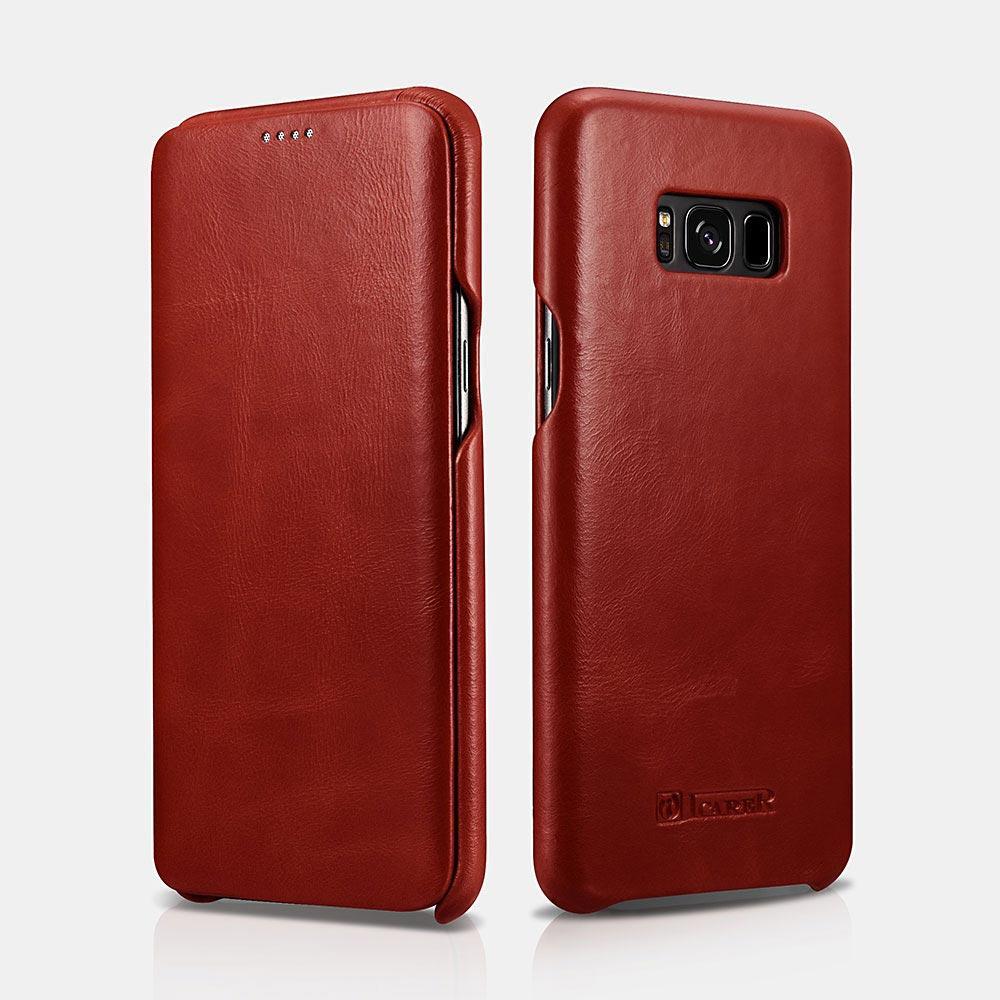 Case Funda Flip Cover de Cuero Genuino para el Samsung S8 Y