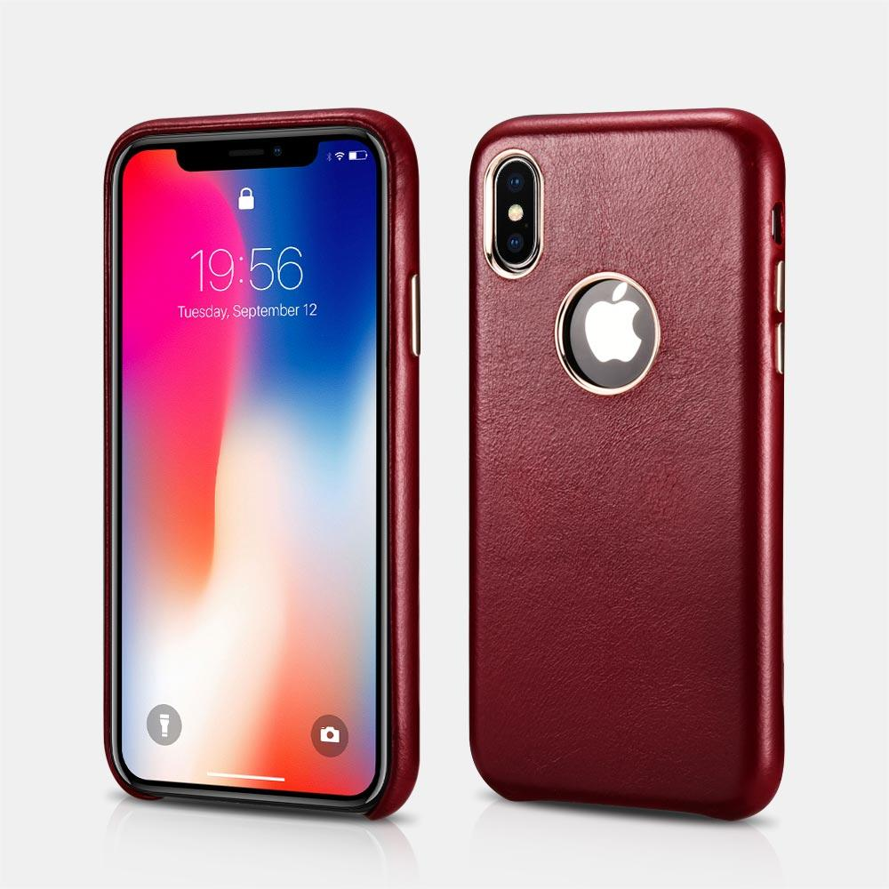Case Back Cover de Cuero Genuino Vintage iPhone X XS XS MAX
