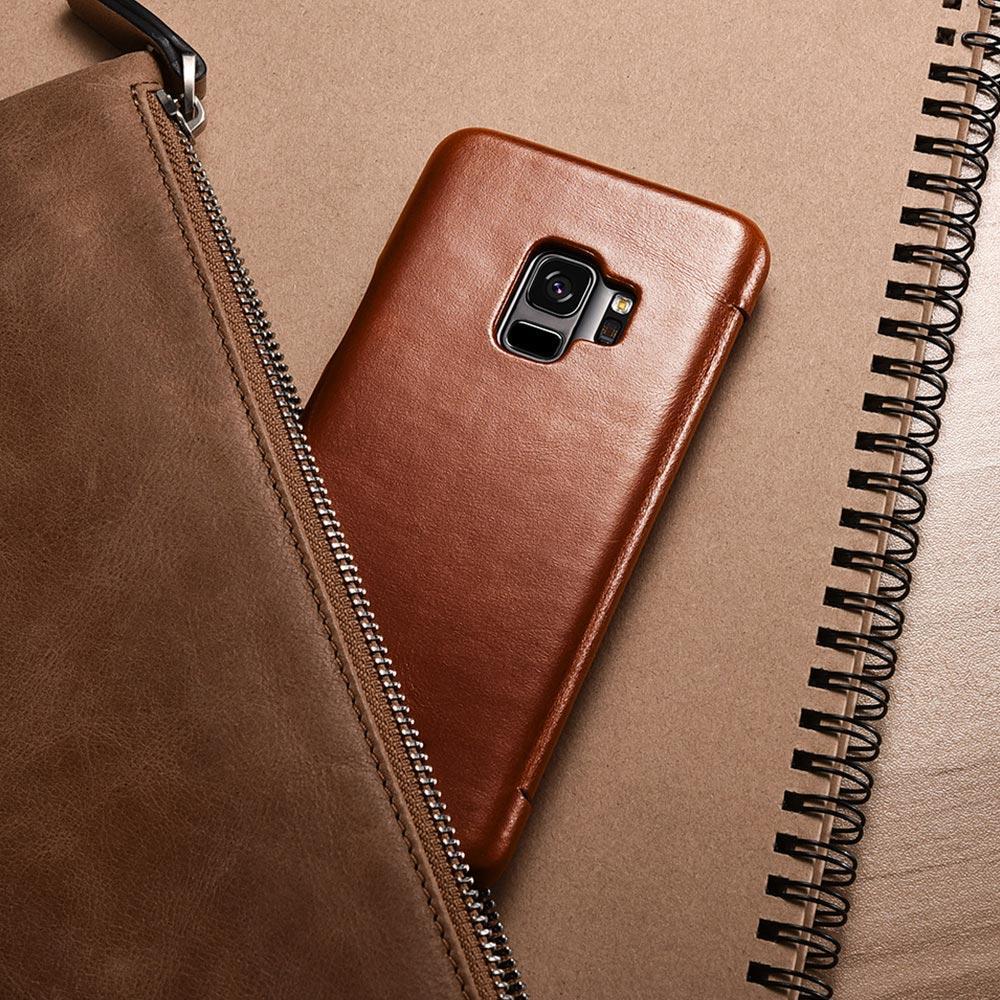 Case Flip Cover de Cuero Genuino con Tapa Imantada Samsung