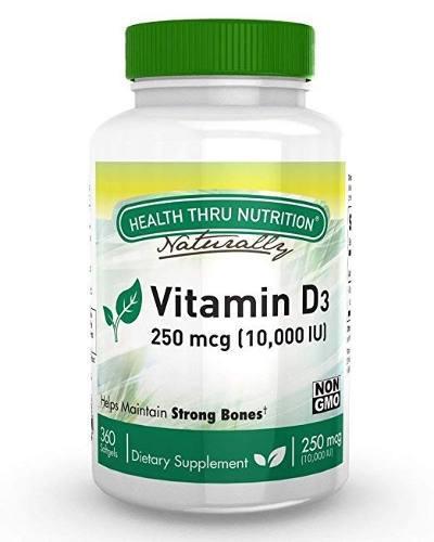 Vitamina D3 10,000 Iu 360 Capsulas Blandas Sin Gluten De Usa