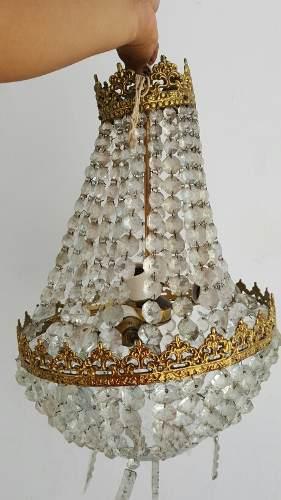 Antigua Lampara De Bronce Y Cristal