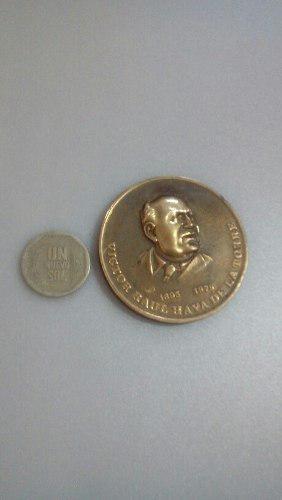 Antigua Medalla Moneda De Raul Haya De La Torre