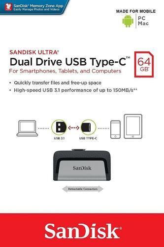 Sandisk Memoria Usb 3.0 Dual Otg Tipo C De 64gb