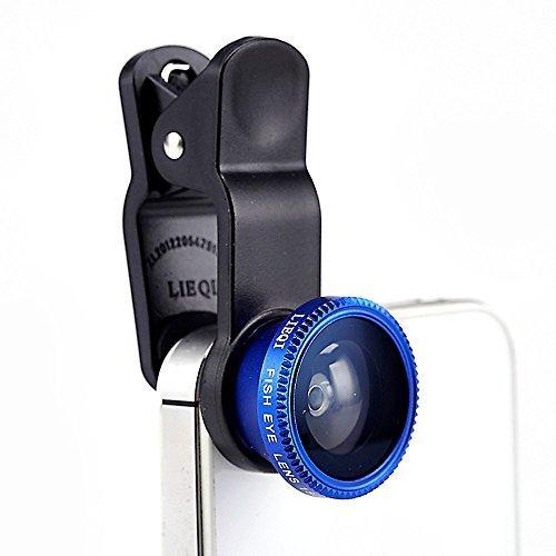Lentes ojo de Pez para smartphone 3 en 1 azul