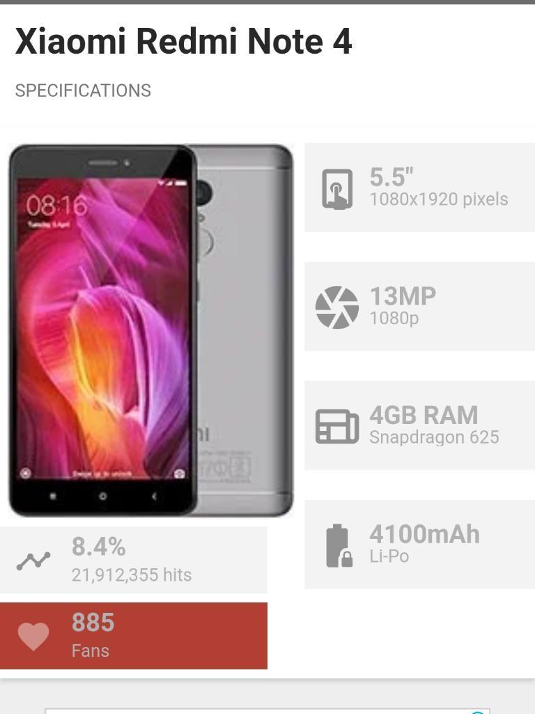 Vendo Xiaomi Note 4 de 4ram 64rom 9/10