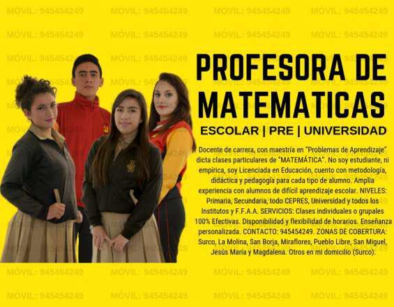 Profesora lic. en educación dicta clases de matemática y