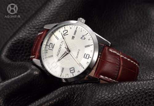 Reloj Agentx De Cuero Elegante Moda De Hombre Original!