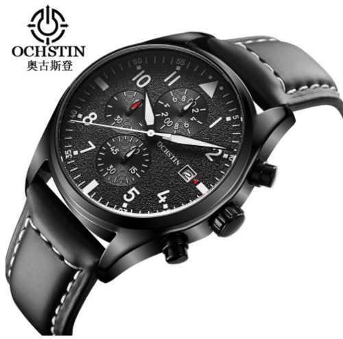 Reloj Ochstin Elegante Cronografo Con Correa De Cuero Negro