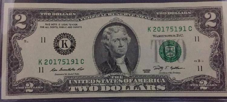 Billete 2 Dolares Americano Bank Dallas