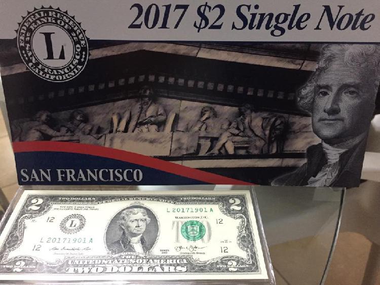 Billete 2 Dolares Americano Bank Of San Francisco
