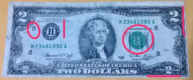 Billete 2 Dolares con Errores