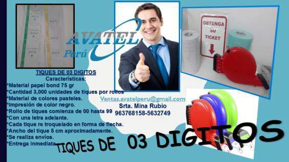 Rollos de tickets de 03 digitos en Lima