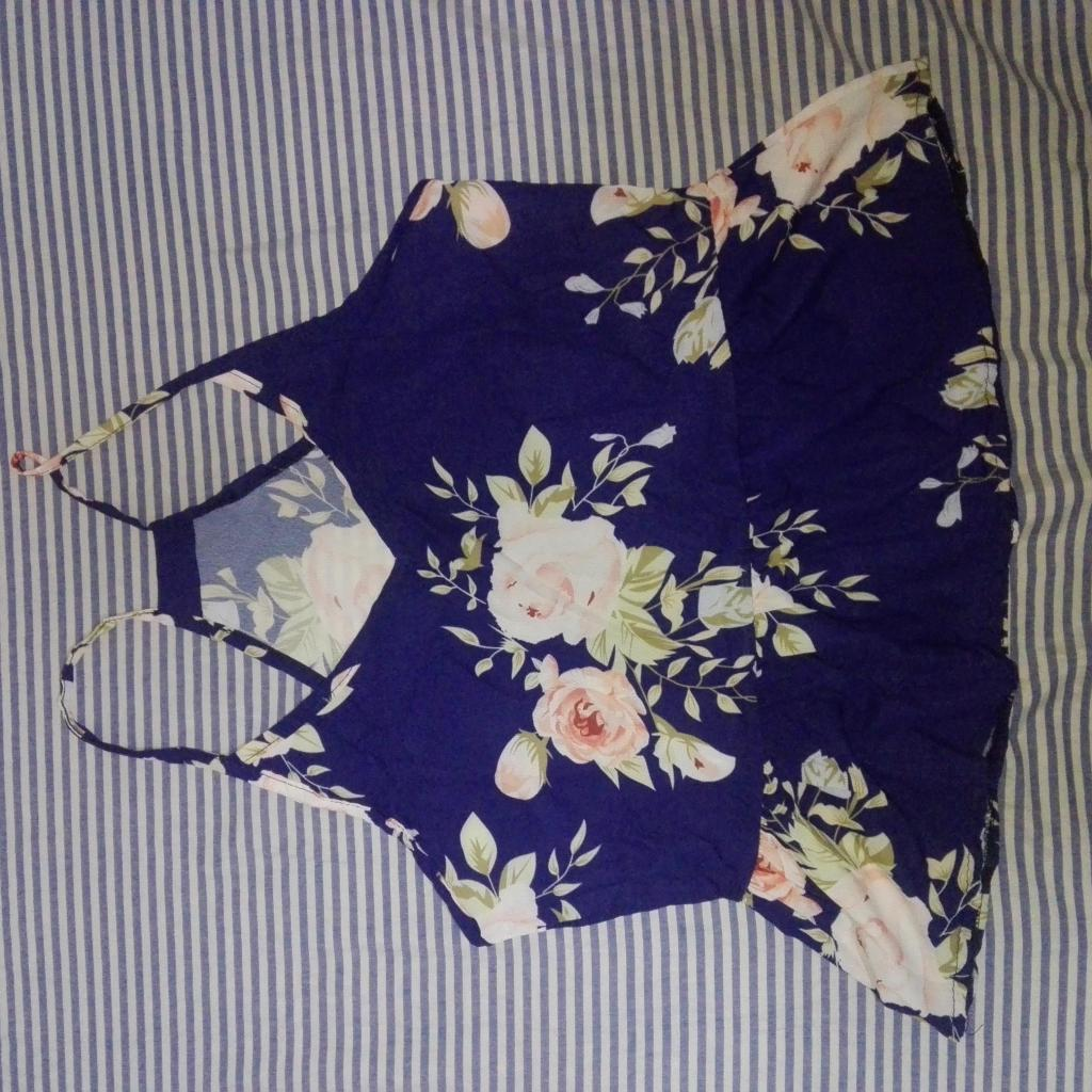 Blusa Floreada Azul Talla S