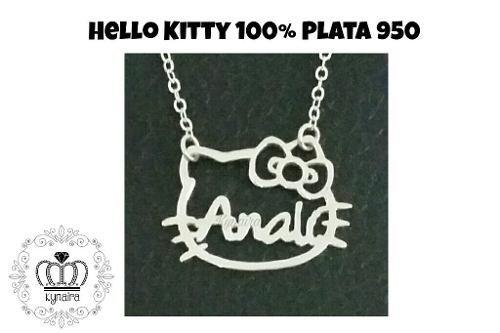 Collar Con Nombre Dije Hello Kitty Minnie Plata 950 Kynaira