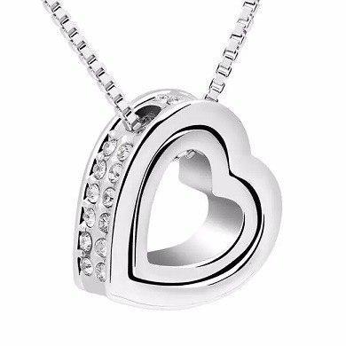 Collar Corazón Doble Con Cristal