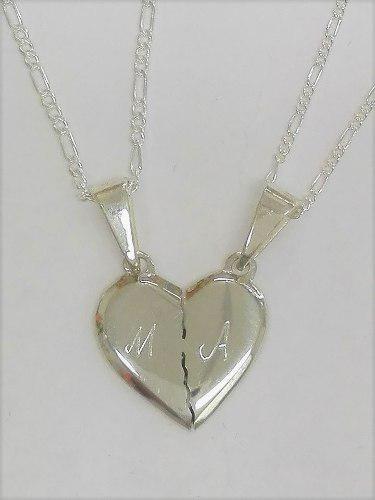 Collar De Corazón Para Parejas En Plata 950
