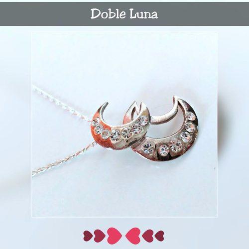 Collar Doble Luna En Plata 950