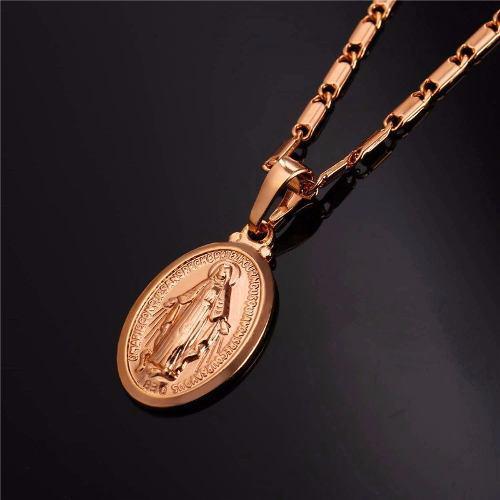 Collar Medalla De La Virgen María Bañado En Oro De 18kl