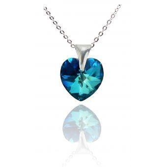 Collar Mujer Corazón Azul Titanic Swarosvki En Plata 950