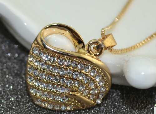 Collar Mujer Corazón Con Cristales + Caja Regalo