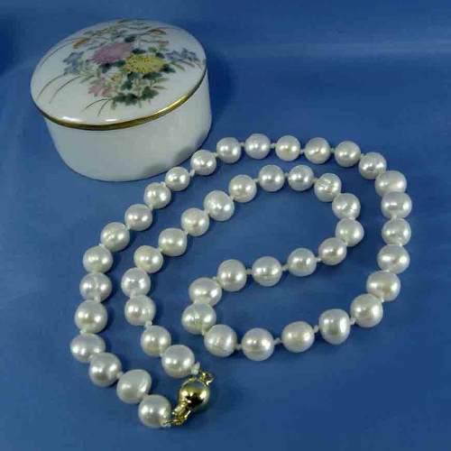 Collar Perlas Genuinas Cultivadas Broche Oro 14 K 8-9mm L8