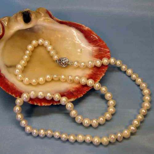 Collar Perlas Genuinas Cultivadas De 8-9mm Y 50 Cm Largo