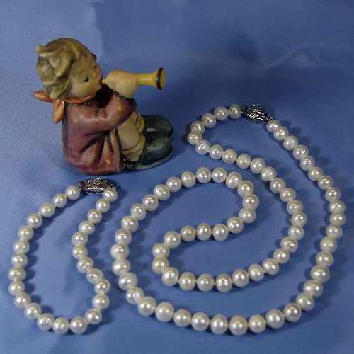 Collar Y Pulsera Perlas Genuinas Cultivadas 7.8mm M8p
