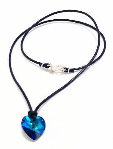 Juego De Collar Corazón - Azul Titanic Con Cristales