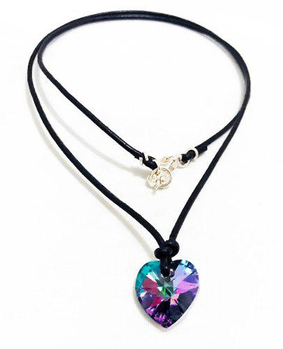 Juego De Collar Corazón Vitral Light Con Cristales Swarovki
