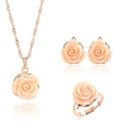 Set De Joya Para Mujer Con Forma De Rosas Acrílicas +