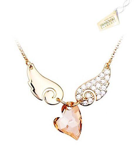 Swarovski Elements Cristales Collar Alas Y Corazón Ámbar
