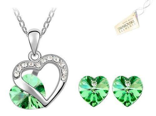Swarovski Elements Cristales Verde Collar Aretes Corazón
