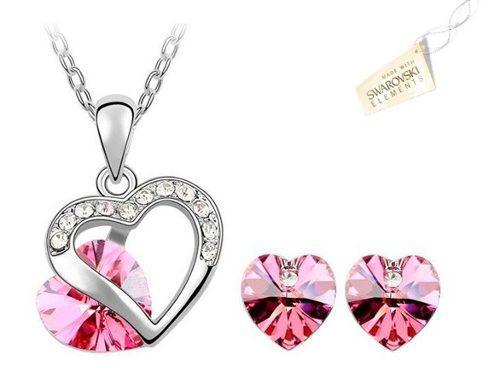Swarovski Elements Rosado Cristales Collar Aretes Corazón