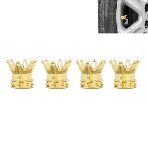 8 Golden Crown Style Plastic Car Tire Valve Caps Pack Of 4