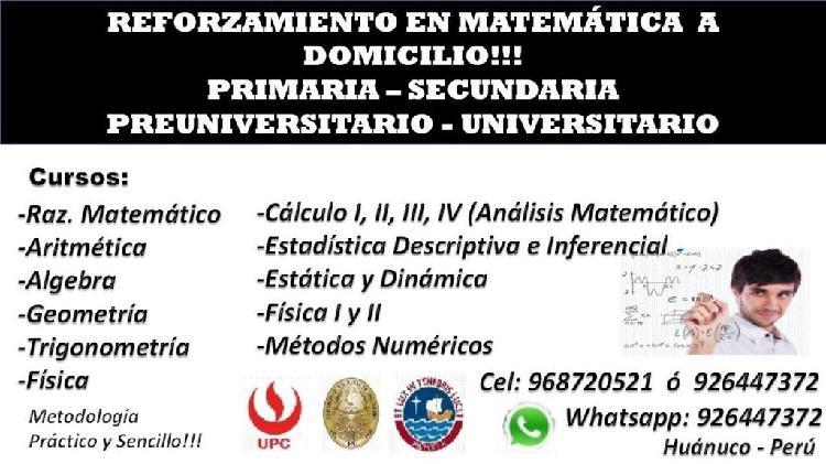 Se Dictan Clases de Matemática A Domicilio en los Niveles