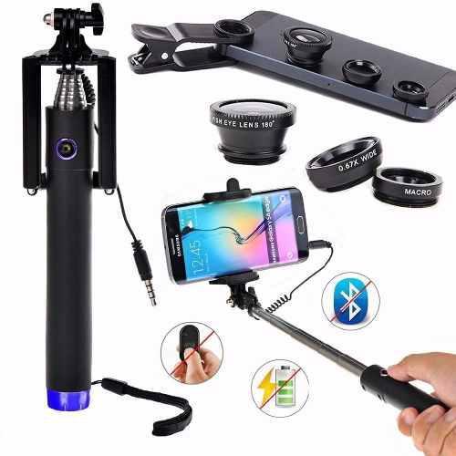 Kit Selfie Stick + Lentes Ojo De Pez, Gran Angular Y Macro