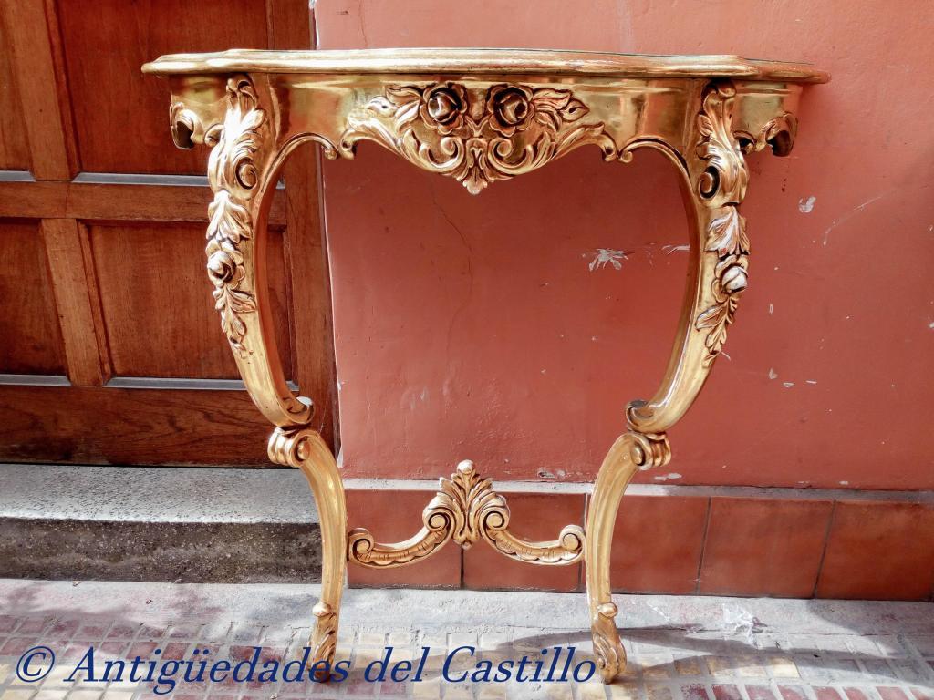 Consola estilo Luis Xv Tallada en madera cedro pan de oro