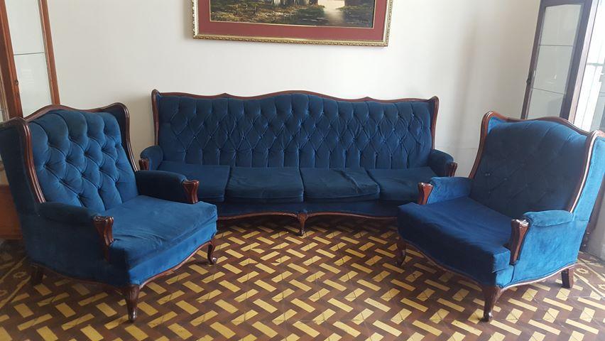 Juego de sala muebles estilo LUIS XV EN madera cedro