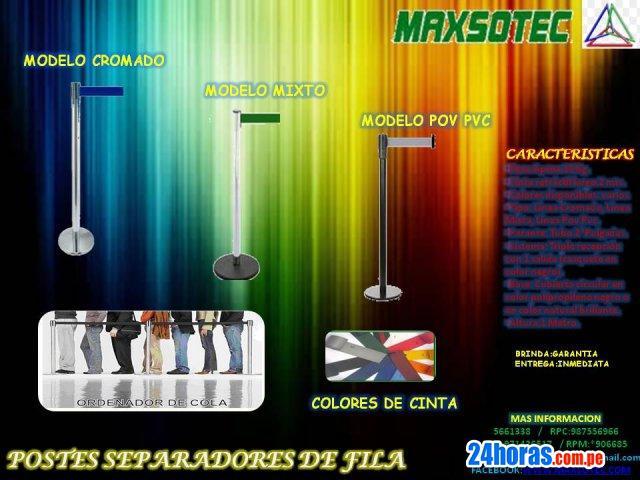 POSTES SEPARADORES DE FILAS/CROMADO,MIXTO,POP PVC/MAXSOTEC