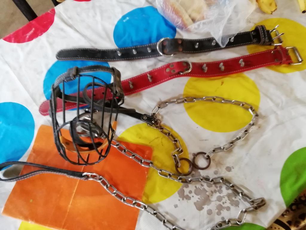 Collares de Cuero con Puntas Y Cadenas